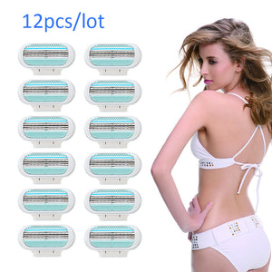 12pcs Women Skin Shave Razor Blade Refills Replacement shaver blades for Body Hair Trimmer US EU RU Version