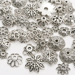 130pcs/lot Tibetan Silver plated color Bead Caps Fit Jewelry Findings Making End Caps 4-15mm