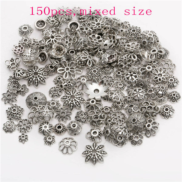 130pcs/lot Zinc Alloy Antique Silver plated color Bead Caps Fit Jewelry Findings Making End Caps 4-15mm