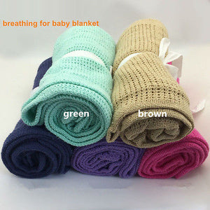 13Colors Baby Blankets Super Soft Cotton Crochet Summer 70cmX90cm Candy Color Prop Crib Casual Sleeping Bed Supplies Hole Wrap