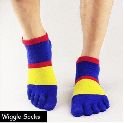 Wiggle Socks: Unisex Toe Socks, Toe Separator Socks, Five Finger Socks, 5 Toe Socks, 5 Finger Socks, Toe Shoe Socks: Blue Yellow Red Stripes