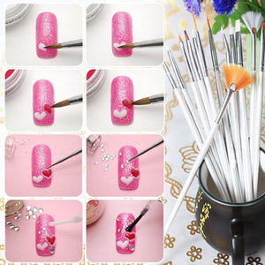 20pcs Nail Art Design Set Dotting Painting Drawing Polish Brush Pen Tools Nail Polish Art Brush
