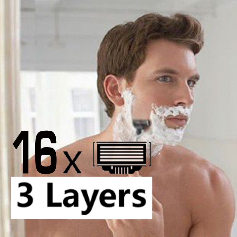 16pcs/pack Men's Safety Razor Blades High Quality 3 layer Manual Shaving blades Standard for M3 Face care shaving machine