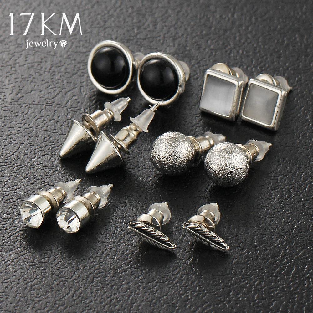 17KM 6Pcs/Set New Fashion Silver Color Ball Crystal Stud Earrings For Women Vintage Leaf Earring Set Boho Punk Accessories