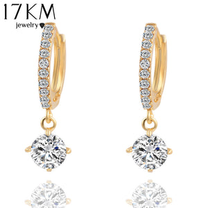 17KM Charm Brincos Geometric Round Crystal Stud Earrings Gold Color Zircon Pendant Earrings Pendiente Earrings For Women CS11