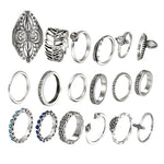 17KM Vintage Midi Knuckle Shield Ring Sets For Women Bohemian Antique Silver Color Leaf Stone Anillos Fashion Statement Jewelry