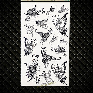 17x10cm Hot Sale Henna Flower Temporary Tattoo Butterflies