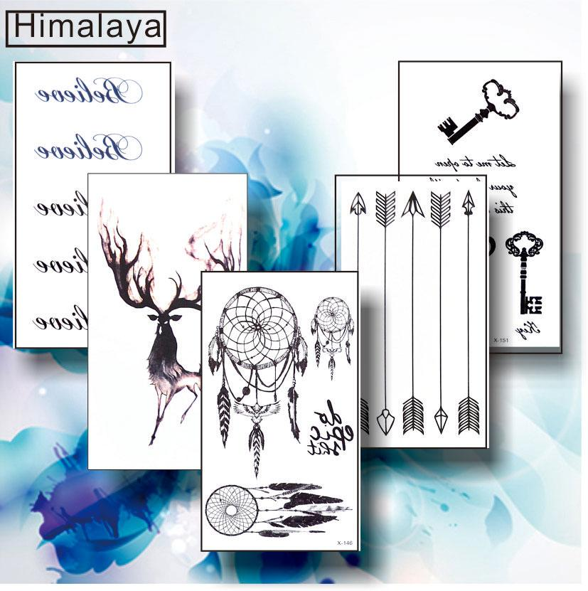 #18 5 pcs/ Set Temporary Small Tattoos, Non-toxic And Waterproof Tribal Dream Catcher Stag Arrow Key Wrist Hand Tattoo
