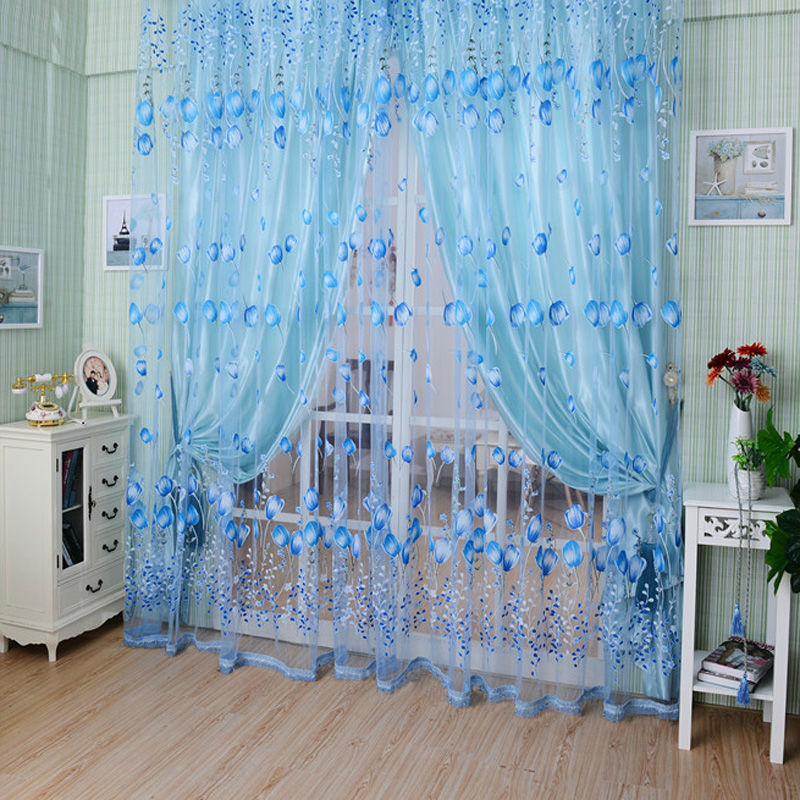 1PC 1M*2M Window Curtains Sheer Voile Tulle for Bedroom Living Room Balcony Kitchen Printed Tulip Pattern Sun-shading Curtain