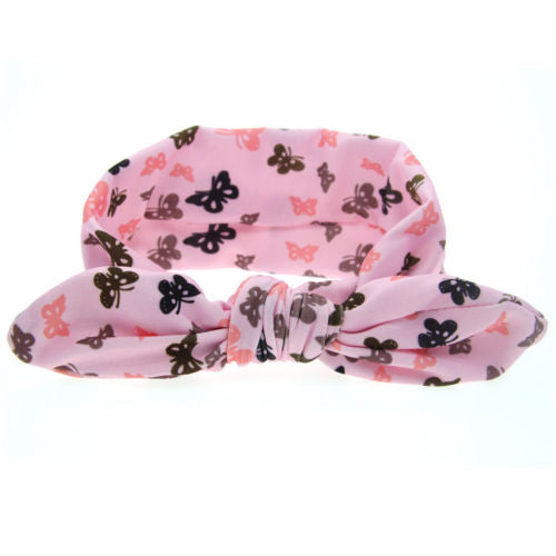 1PC Cute Baby Kids Girl Print Flower Butterfly Dot Star Rabbit Ears Turban Bow Knot Hair Braider Accessories