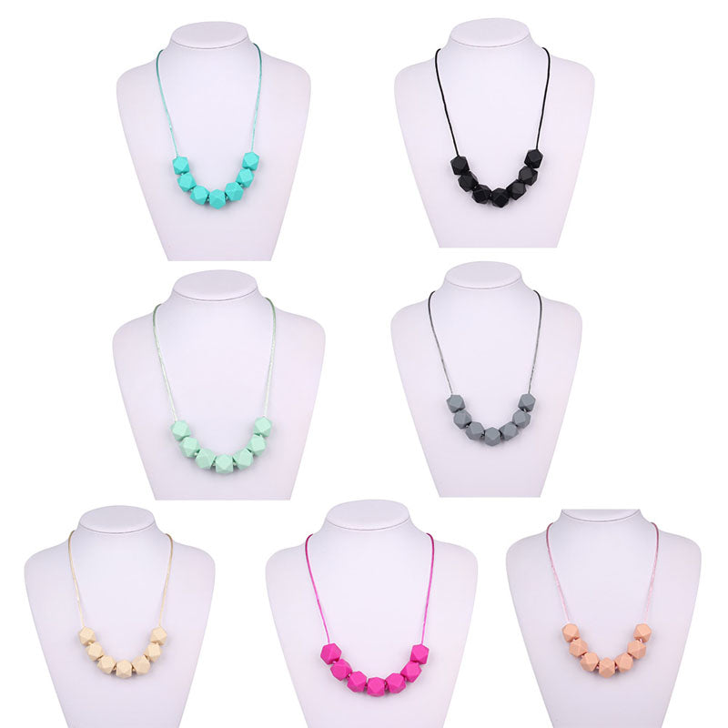 1PC Cute Baby Silicone Teether Chain Charm Polygon Beads Necklace Teething Toy