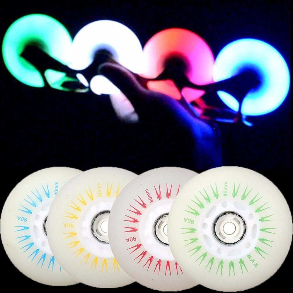 1PC Flashing Light Roller Skate Wheels Inline Sliding Flash PU Roller Skate Wheels 80mm 90A with No Bearings 5 Colors