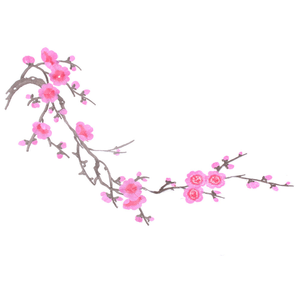1PC New Plum Blossom Flower Applique Clothing Embroidery Patch Fabric Sticker Elegant Sew-on Clothes Accessories DIY Decoration - Cerkos.com