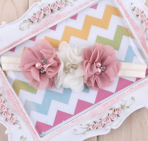 1PC Rhinestone Ribbon Pearl diamond Headwear Newborn Hairbands sewing Flowers Headband Kids Hair Accessories Jeaely W045