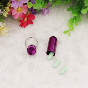 1PCS small metal container aluminum pill box holder keychain medicine packing bottle Wholesale with Free shipping