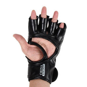 1Pair PU Leather Half Mitts Mitten MMA Muay Thai Train Gym Gloves Half Mitt Training Sparring Kick Boxing Gloves Equiment ISP