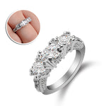 1Pc Elegant Lady Chic White Crystal Silver Plated Engagement Wedding Ring Jewelry Nice Gift For Lover or Friends
