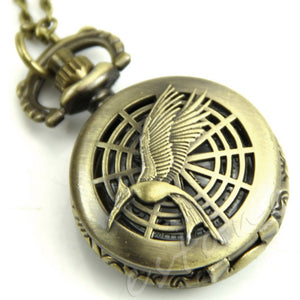 1Pc Small Bird Eagle Peacock Flower Pattern Quartz Hunger Game Pocket Watch Hour