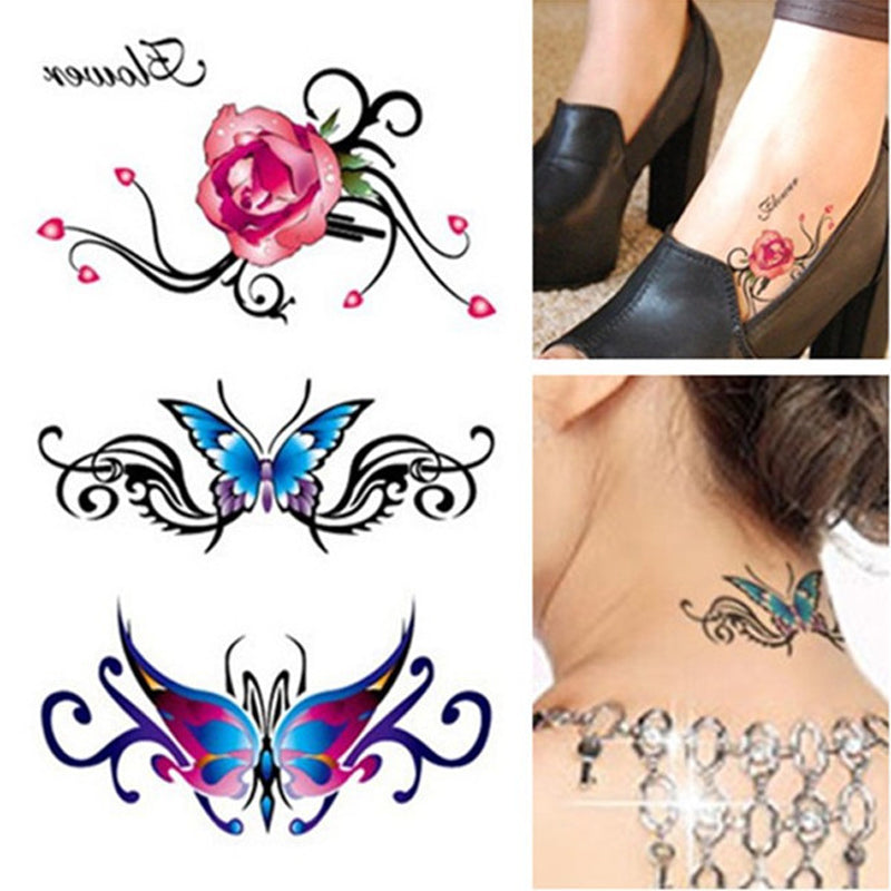 1Pcs Colorful Rose Waterproof Tattoo Body Art 3D Flash Tattoos Sleeve Tatoo Stickers Glitter Temporary Fake Tatuagem