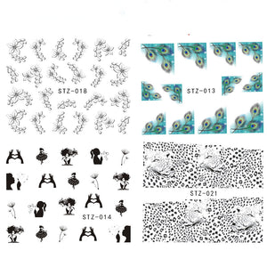 1Sheet Fashion Style Nail Art Water Transfer Sticker Polish Watermark Decals Manicure Wraps Decor Beauty Nail Tools BESTZ001-031