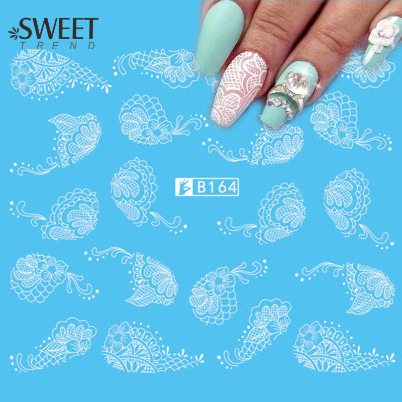 1Sheet Lace Flower Nail Art Water Transfer Stickers Beauty White/Black Nail Tips Decals Sweet Trend Manicure Decoration LAB164