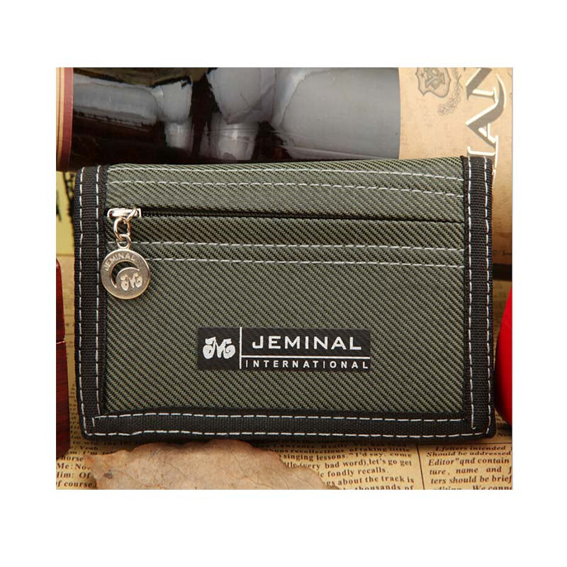 1pc Causal Style Boy's Canvas Wallet Short Design Men Wallets Zipper Coin Purse Card Holder For Teenager -- BID047 PM15