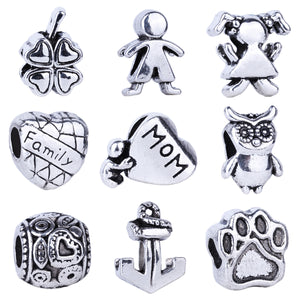 1pc Free Shipping Silver Bead Charm European Love Heart Clover Owl Boy Dog Paw Family Fashion Bead Fit Pandora Bracelet Necklace