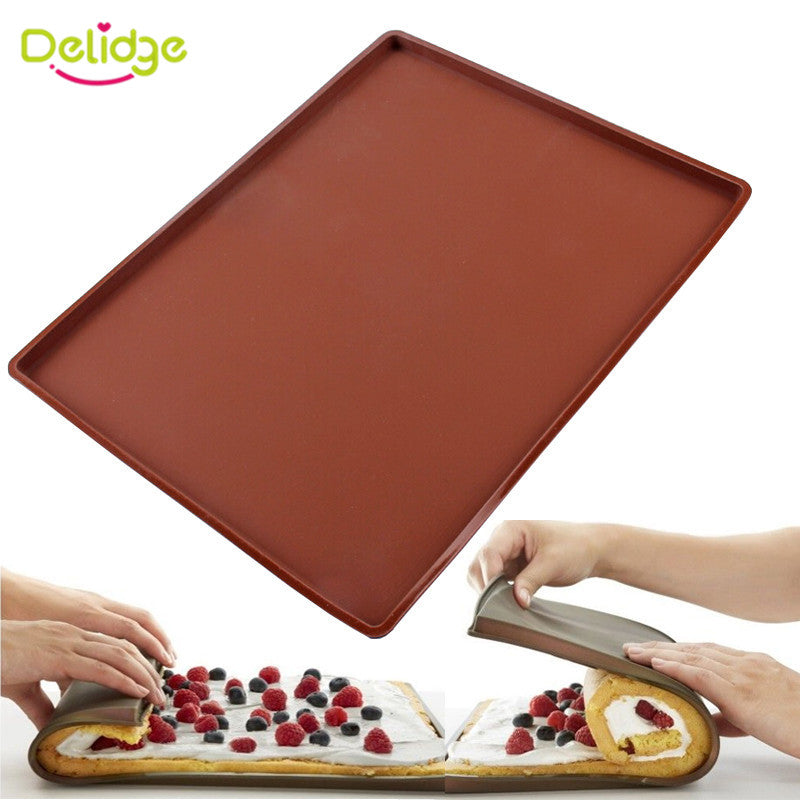 1pc Non-stick Silicone Oven Mat Cake Roll Mat Baking Mat Functional Baking Macaron Cake Pad Swiss Roll Pad Bakeware Baking Tools - Cerkos.com