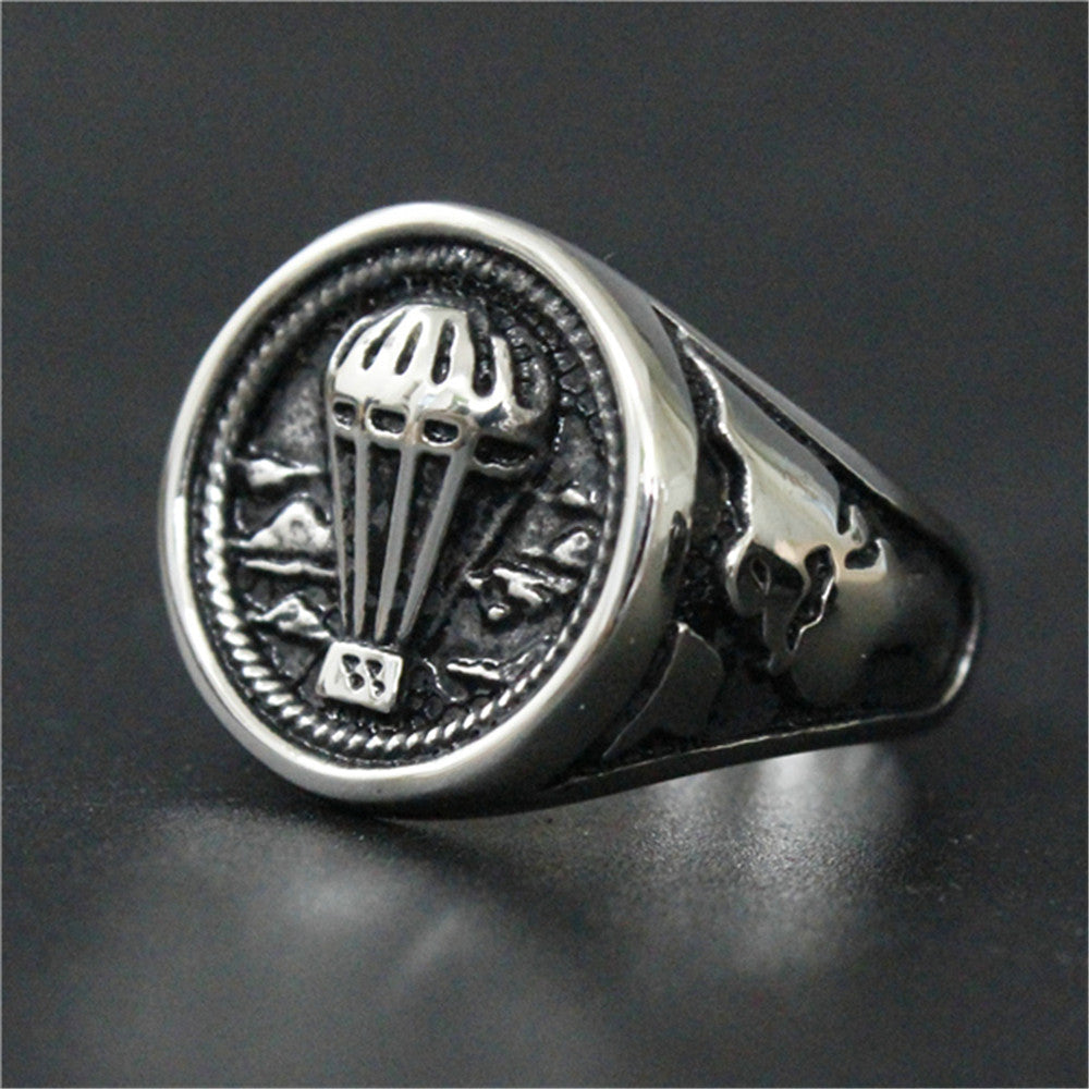 1pc Support Drop Ship Newest Cool Parachute Ring 100% 316L Stainless Steel Punk Silver Black Ring