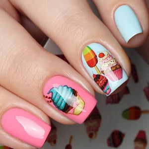 1pcs Nail Sticker Chocolate/Fruit/Cheese/Cream Cake Beauty Printing Nail Designs Water Transfer DIY Decals Nail Tools TRSTZ444