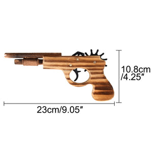 1pcs/set Bullet Rubber Band Launcher Wood Gun Hand Pistol Guns Shooting Toy Gifts Boys Outdoor Fun Sports For Kids