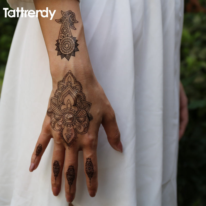 1piece body painting white black henna tattoo fake new lace flash Arabic  Indian rose butterfly wedding art paint on hand S1014B