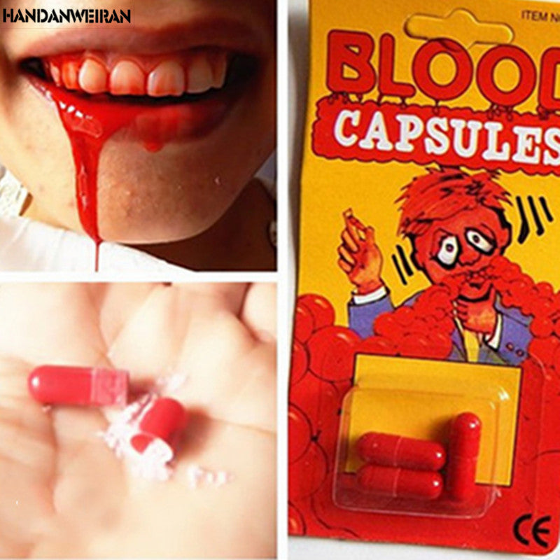 1pieces Funny Blood Pill Trick Toys Whimsy Prop Vomiting Blood Capsule April Fool's Day Joke Toys