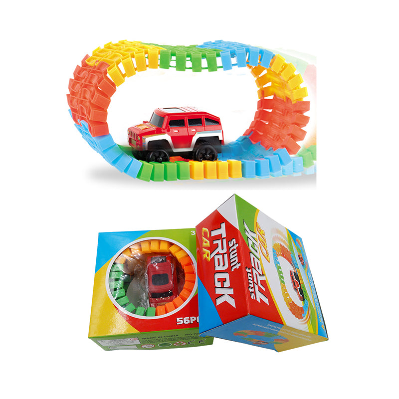 1set Diecast DIY Fun Puzzle Toy Kids Roller Coaster Track Electronics Rail Car Toys for Children Boys Birthday Gift Random Color