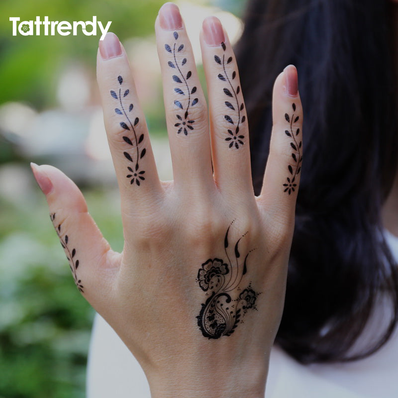 899912e08 1sheet Black and White henna Fake Lace tattoo stickers Metallic temporary  flash tattoos Arabic Indian Summer