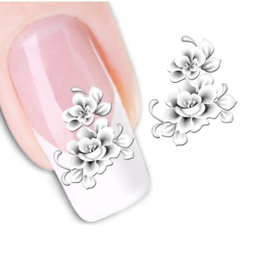 1sheets Fashion White Flower Beauty Polish Items Nail Art Decals French Tips Water Transfer Tattoos Stickers Nail Tool LASTZ-048 - Cerkos.com