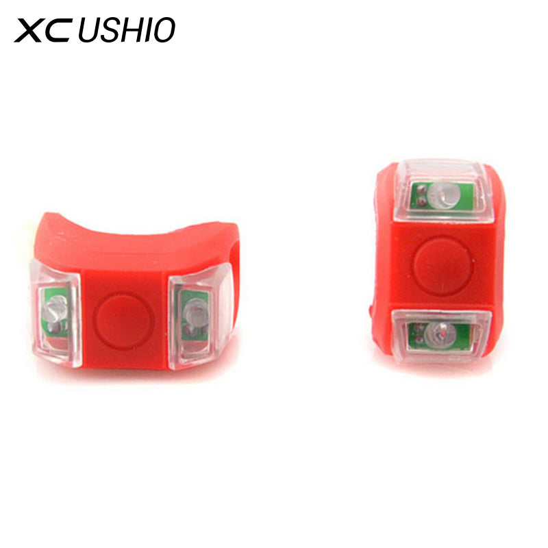 1x Waterproof Silicone Mountain Bike Cycling Light Front Rear Tail Lamp Flash Light Bicycle Handlebar Frame Wheel Warning Light