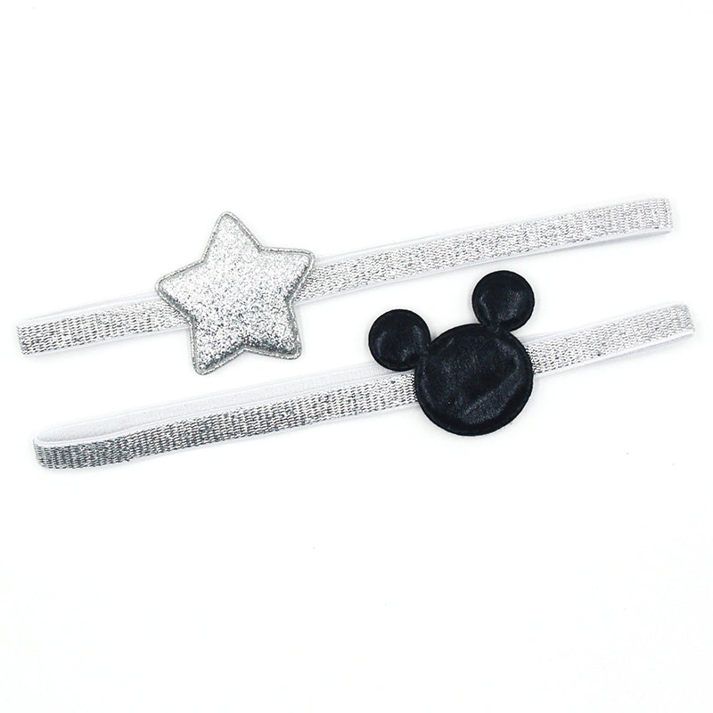2 PCS 2017 Newly Design Mickey Children's Elastic Hair Band Girls Hair Accessories Baby Star Shining Headbands Kids Headwear