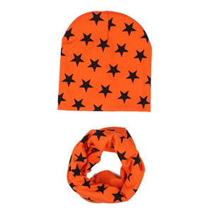 2 Pcs Star Pattern Baby Hat +Scarf Cute Kids Cap Baby Girl Boy Caps Soft Warm Cotton Beanie O Ring Neckerchief Scarves casquette