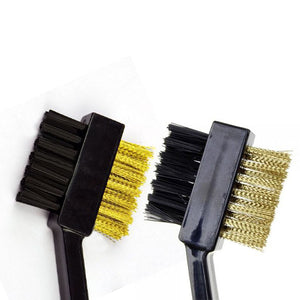 2 Sided Brass Wires Nylon Golf Brush Clip Groove Ball Cleaner Cleaning Kit Tool Golf Accessory