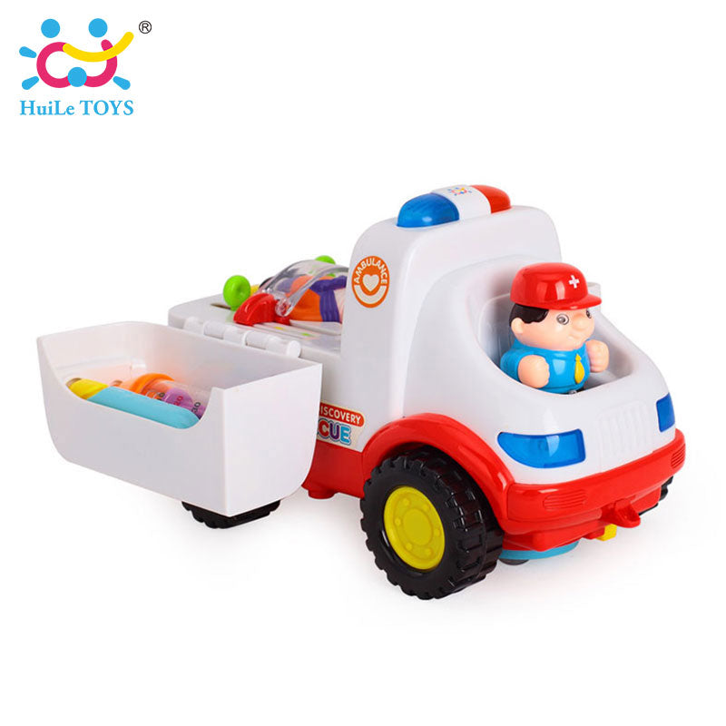 2-in-1 Ambulance Doctor Vehicle Set Baby Toys Pretend Doctor Set and Medical Kit Inside Bump and Go Toy Car with Lights & Sounds