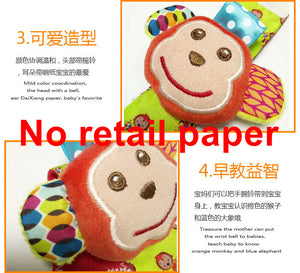 2 pcs/pair SKK Baby Wrist Band Rattle Socks Stuffed Elephant Monkey Animal Toy Plush Doll Bell Ring Paper Kids Children Xmas