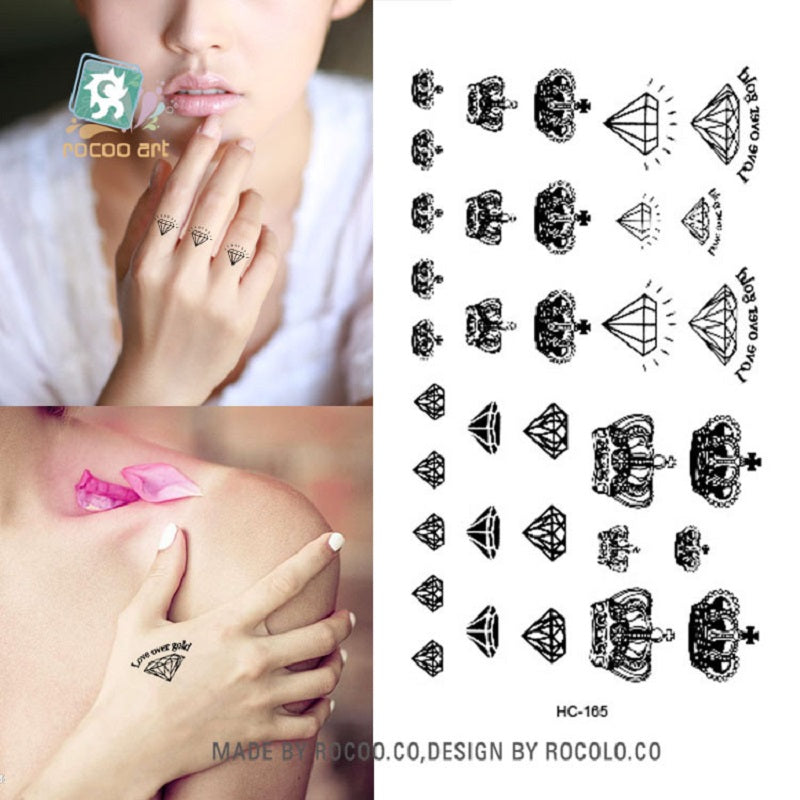 2 sheets HC1165 black quick tattoo small diamond and crown water transfer Temporary Tattoo Sticker nail varnish series