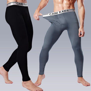 2015 Men's trousers warm winter long underwear plus velvet cotton modal thickening silver edge Leggings free shipping