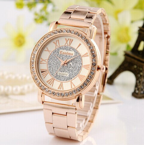 2015 New Famous Brand Gold Arenaceous Rhinestone Casual Quartz Watch Women Full Steel Watches Luxury Watches Relogio Feminino