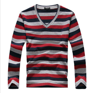 2016 Autumn and Winter New Men's Casual Round Long-sleeved Sweater Fashion Stripes Slim Sweater Comfortable and Breathable 15