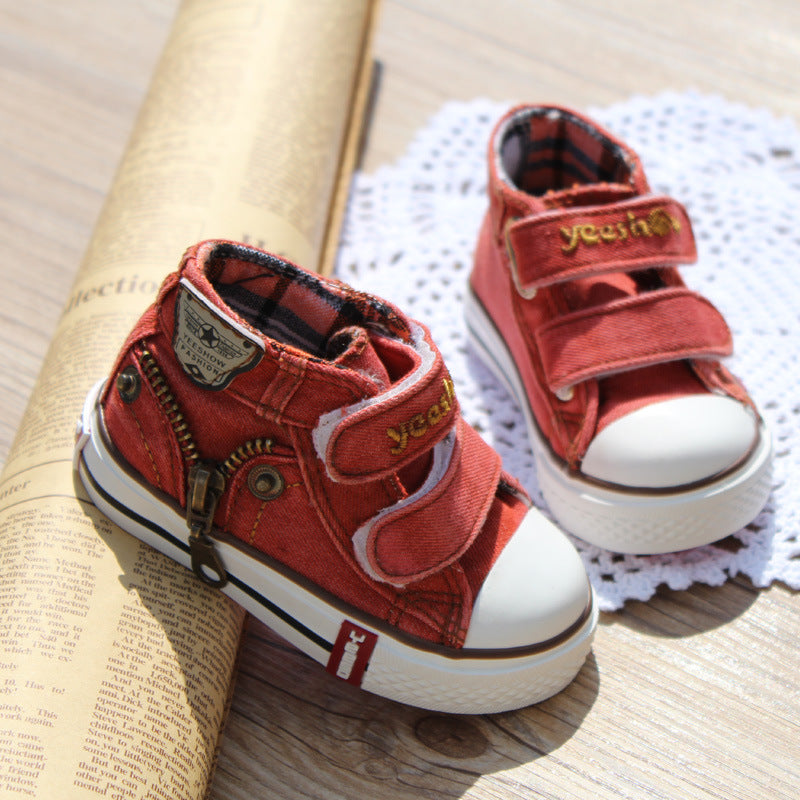 2016 Canvas Children Shoes Boys Sneakers Brand Kids Shoes for Girls Baby Jeans Denim Flat Boots toddler shoes YS660
