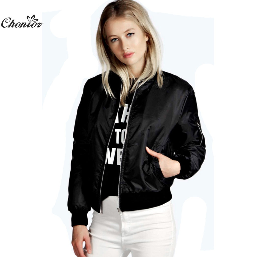 2016 European Style Womens Retro Long Sleeve O-Neck Short Zipper Slim Bomber Jacket Casual Coat MA1 Pilot Bomber Jackets