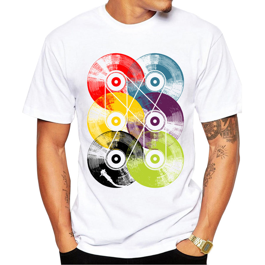 2016 Fashion Retro Wood/ Record Printed Men T shirt Short Sleeve Casual t-shirt Hipster Fractal Pattern tees Cool Tops - Cerkos.com