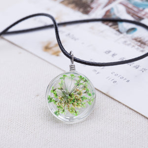 2016 Hot Fashion Crystal glass Ball Clover Necklace Long Strip Leather Chain Pendant Necklaces Women Lucky Wish Locket Jewelry